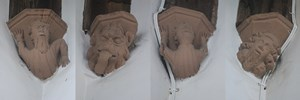 Cople - All Saints. Roof corbels.