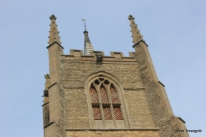 Great Barford - All Saints. Tower belfry opening.