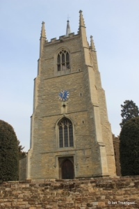 Great Barford - All Saints. Tower from the west.