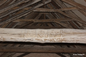Knotting, St Margaret. Roof beam detail.