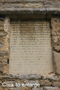Keysoe, St Mary, West tower tablet.