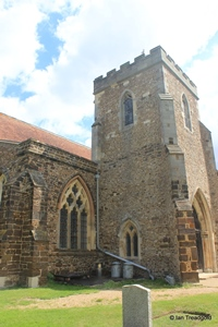Langford, St Andrew. South tower from the south-west.