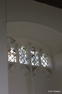 Langford, St Andrew. Chancel north window internal.