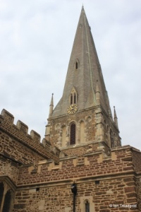 Leighton Buzzard - All Saints. Spire from the north-east.