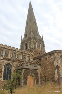 Leighton Buzzard - All Saints. Spire from the south-west.