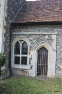Linslade - St Mary. Chancel, south-west window and door.