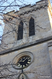 Milton Bryan - St Peter. Tower belfry lights and clock.