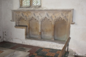 Potsgrove - St Mary. Chancel, sedilia and piscina.