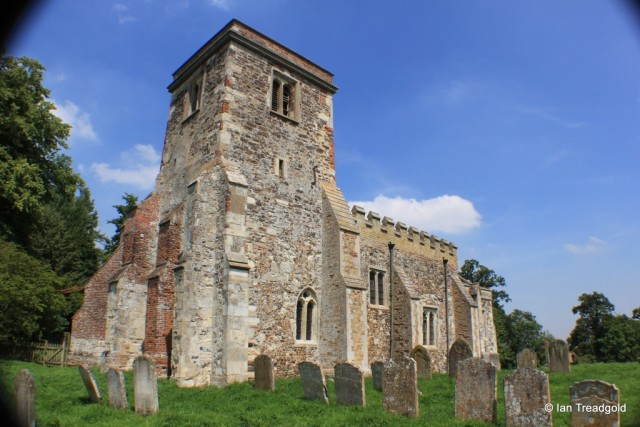 Battlesden - St Peter and All Saints. Tower from the south-west.