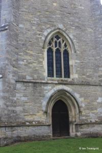 Bolnhurst - St Dunstan. Tower west window and door.