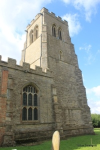 Bolnhurst - St Dunstan. Tower and north-west window.