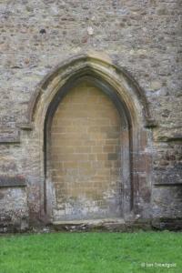 Bolnhurst - St Dunstan. North wall, blocked doorway.
