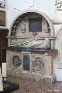 Blunham, St Edmund or St James. Chancel, tomb monument.