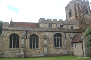 Cople - All Saints. North aisle and chapel from the north.