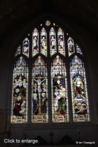 Cople - All Saints. East window internal.