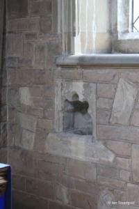 Cardington - St Mary. Piscina in Lady Chapel.