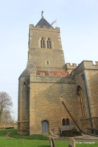 Turvey - All Saints. Tower and west vestry from the south.