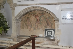 Turvey - All Saints. South aisle, tomb recess and mural.
