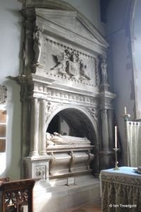 Turvey - All Saints. South aisle/chancel, tomb.