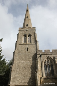 Colmworth - St Denys. Tower and spire from the south.
