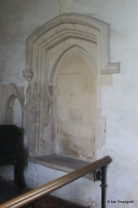 Edworth - St George. Chancel, blocked south door internal.