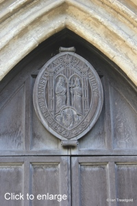 Elstow - St Mary and St Helena. Main west door seal.