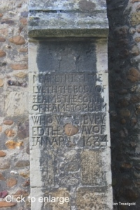 Eaton Socon - St Mary the Virgin. North aisle buttress inscription.